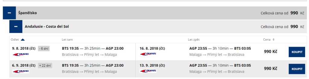 letenky z Bratislavy do Malagy
