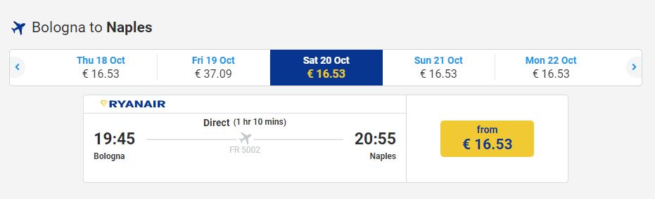 letenky z Bologne do Neapolu