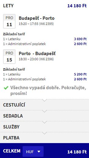 letenky z Budapešti do Porta