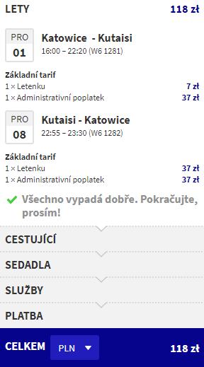 letenky z Katovíc do Kutaisi