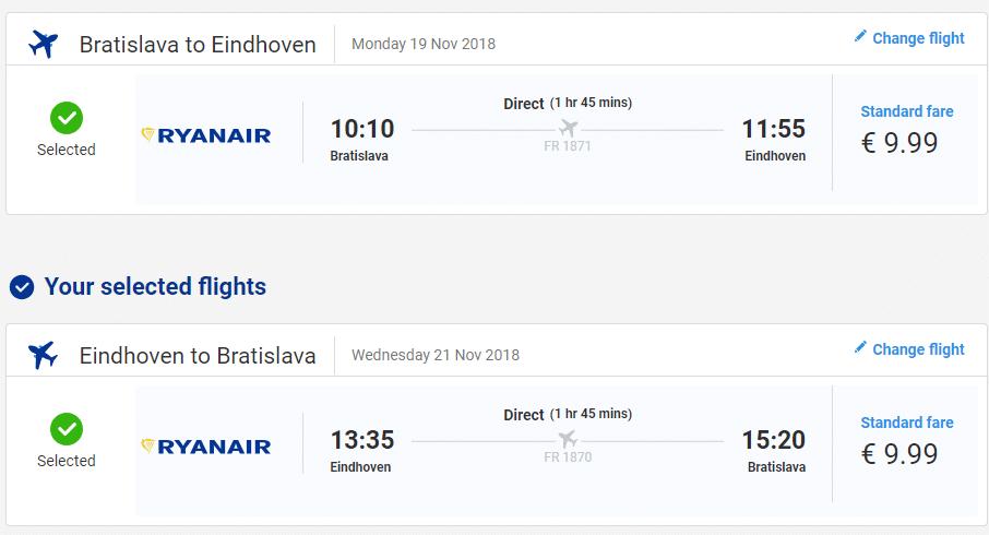 letenky z Bratislavy do Eindhoven-u