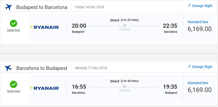 letenky z Budapešti do Barcelony