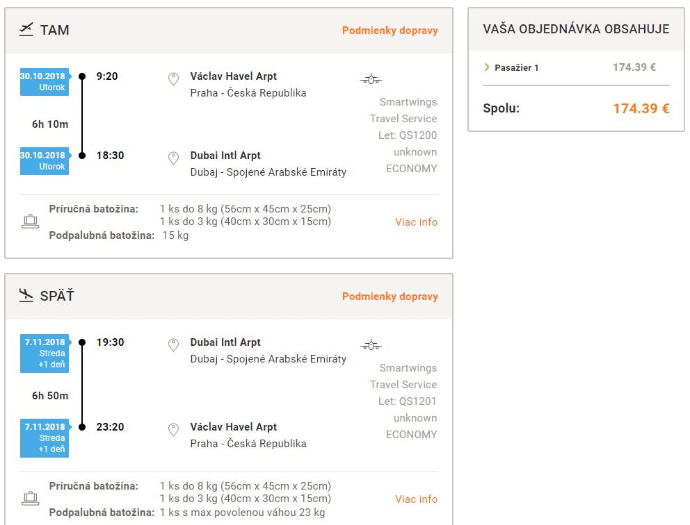 letenky z Prahy do Dubaja