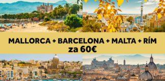 Mallorca, Barcelona, Malta rím - letenky spolu za 60€