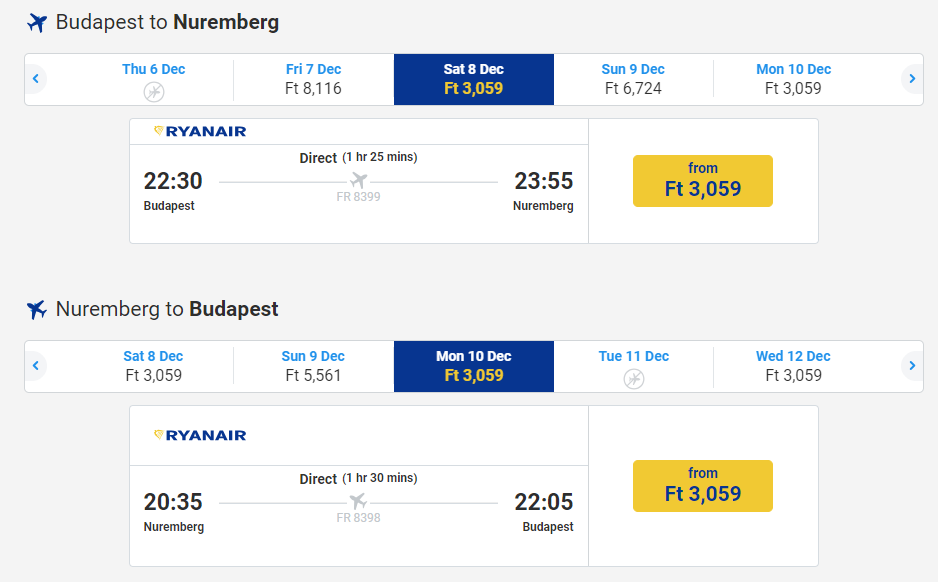 letenky z Budapešti do Norimbergu