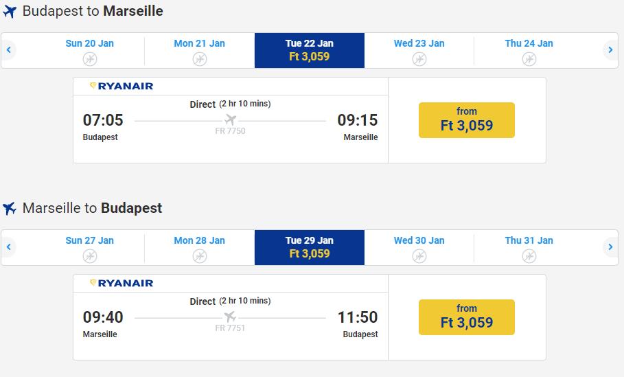 letenky z Budapešti do Marseille