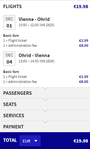letenky z Viedne do Ohrid-u