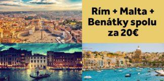 Rím + Malta + Benátky - letenky za 20€