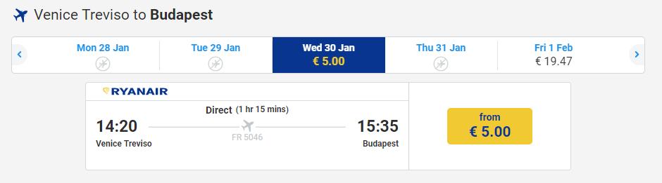 letenky z Benátok do Budapešti