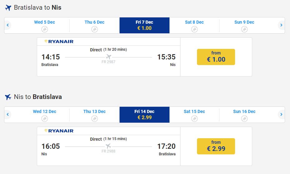 letenky do Niš-u za 4€