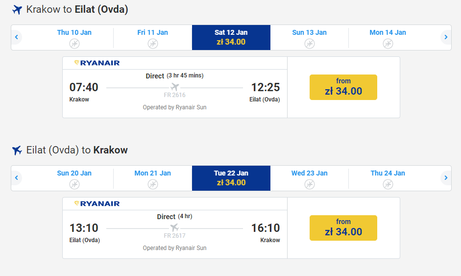 letenky z Krakova do Eilatu