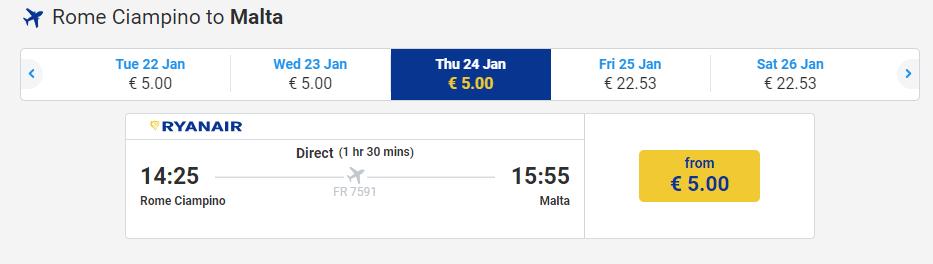 letenky z Ríma na Maltu