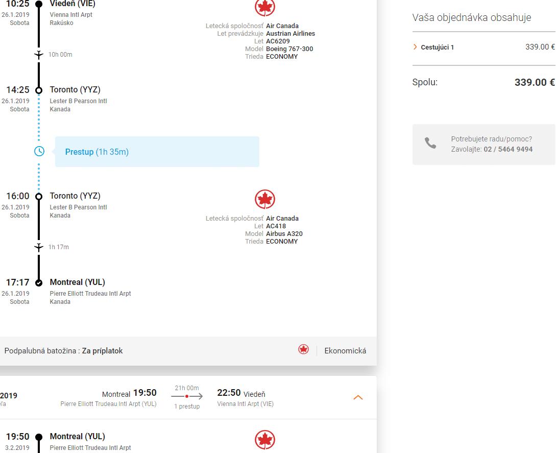 letenky z Viedne do Montrealu