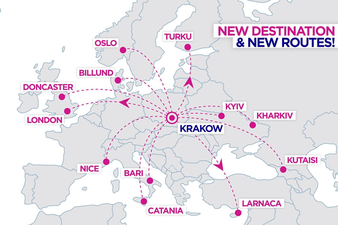 linky wizzair-u z Krakova