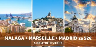 letenky - Malaga + Marseille + Madrid za 52€