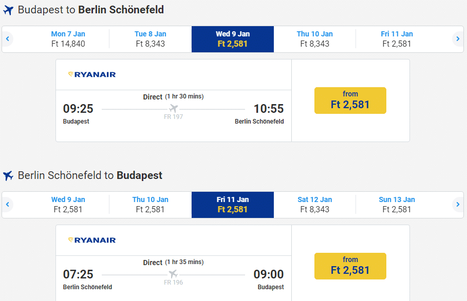 letenky z Budapešti do Berlína