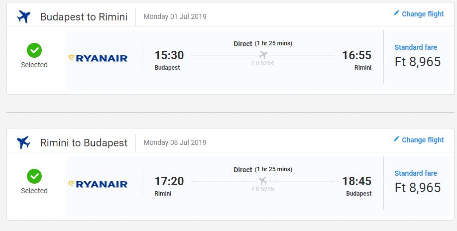 letenky z Budapešti do Rimini