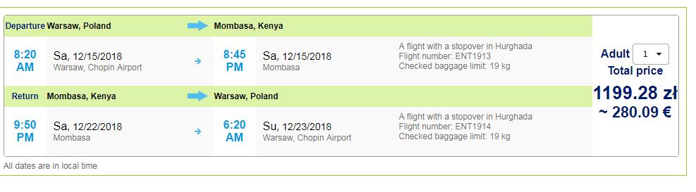 letenky z Varšavy do Kene