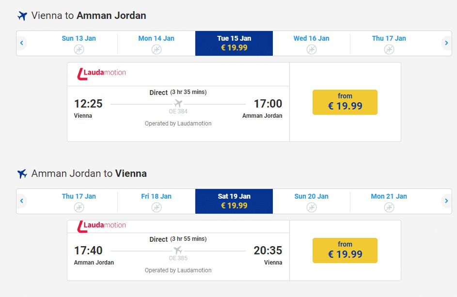 letenky z Viedne do Ammánu