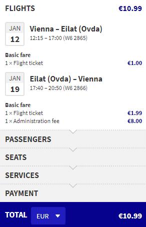letenky z Viedne do Eilatu