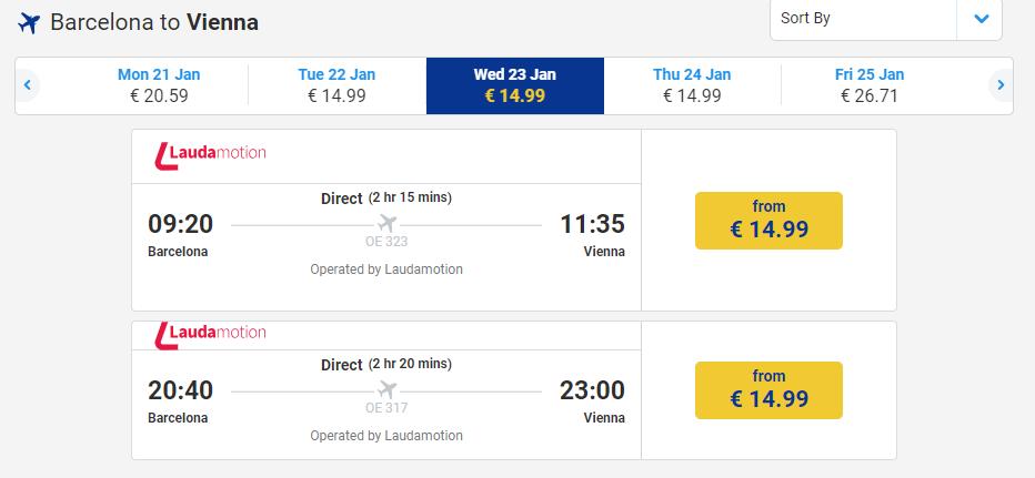 letenky z Barcelony do Viedne
