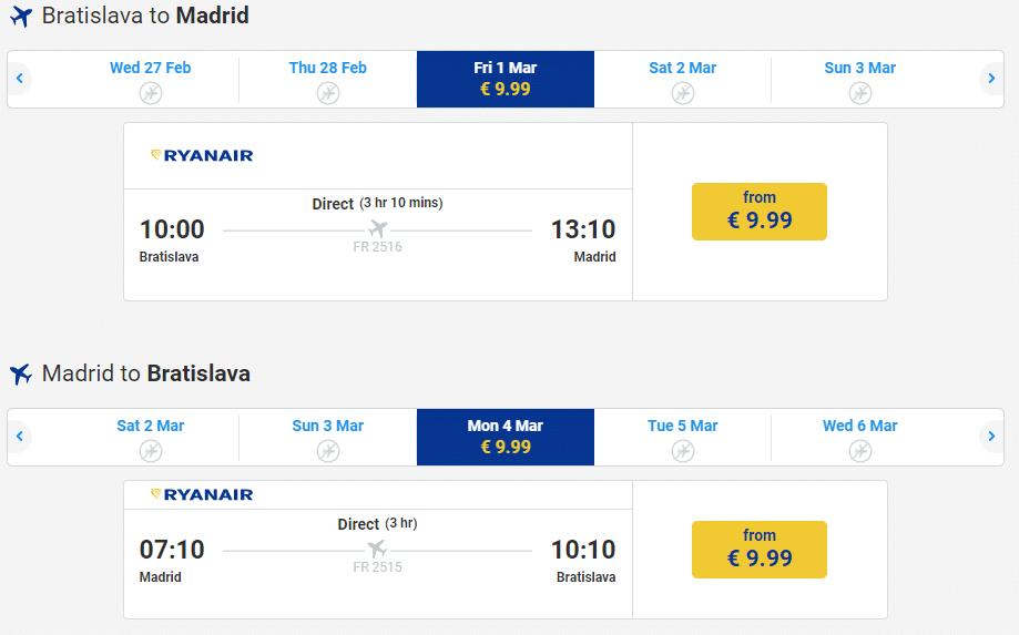 letenky z Bratislavy do Madrid-u