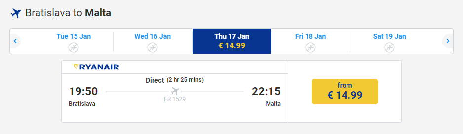 letenky z Bratislavy na Maltu