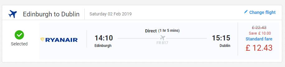 letenky z Edinburgh-u do Dublinu
