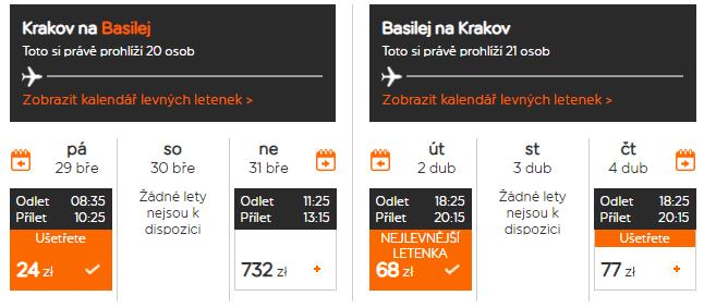 letenky z Krakova do Bazileja