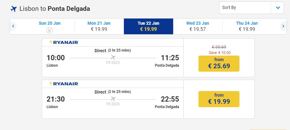 letenky z Lisabonu do Ponta Delgada