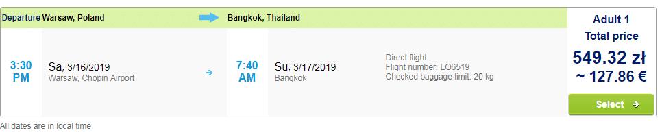 letenky z Varšavy do Bangkoku
