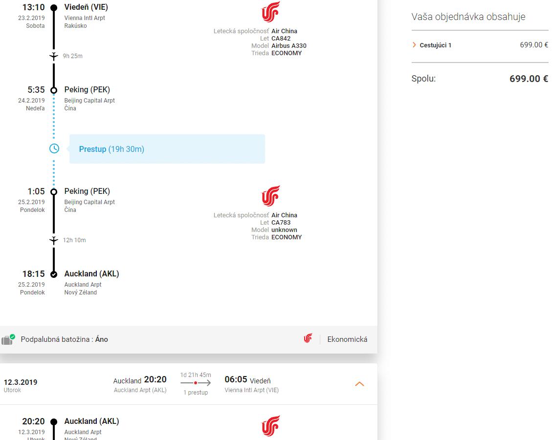 letenky z Viedne do Aucklandu