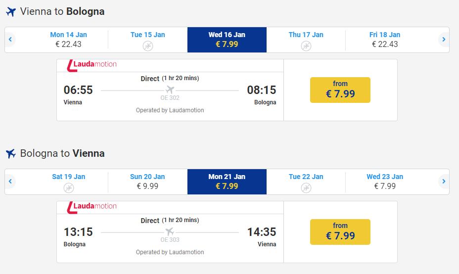 letenky z Viedne do Bologne