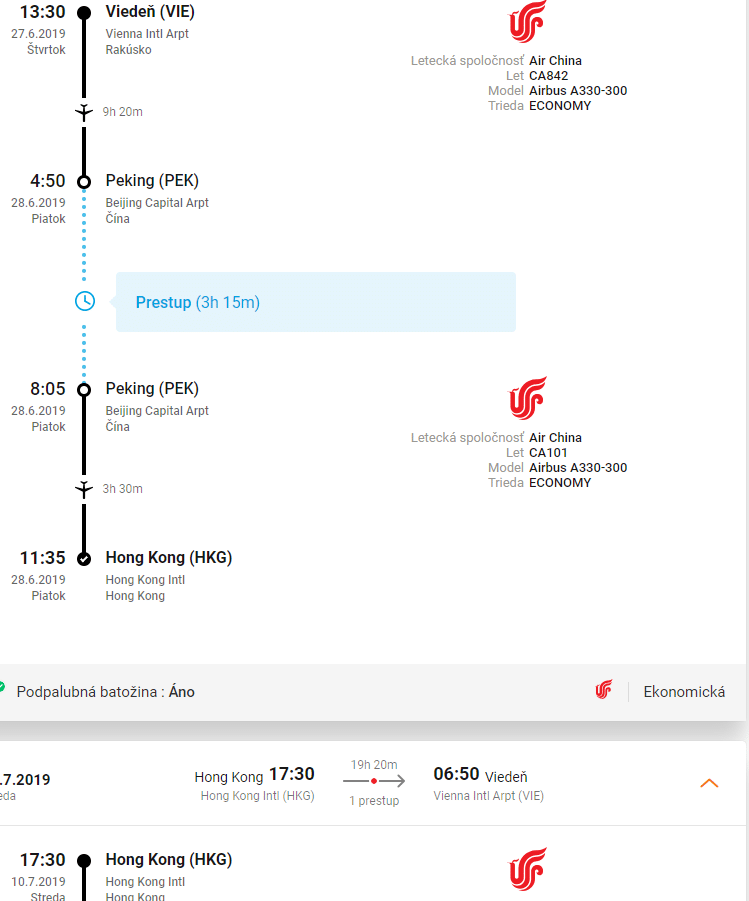 letenky z Viedne do Hong Kong-u