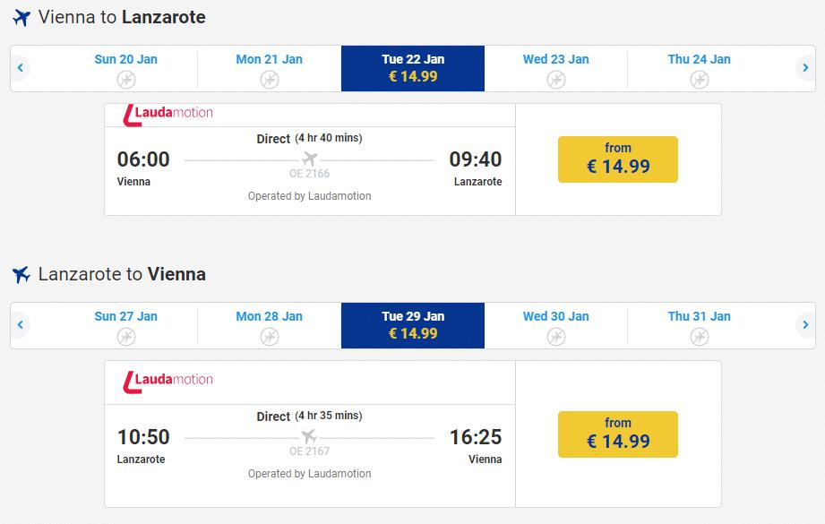 letenky z Viedne na Lanzarote