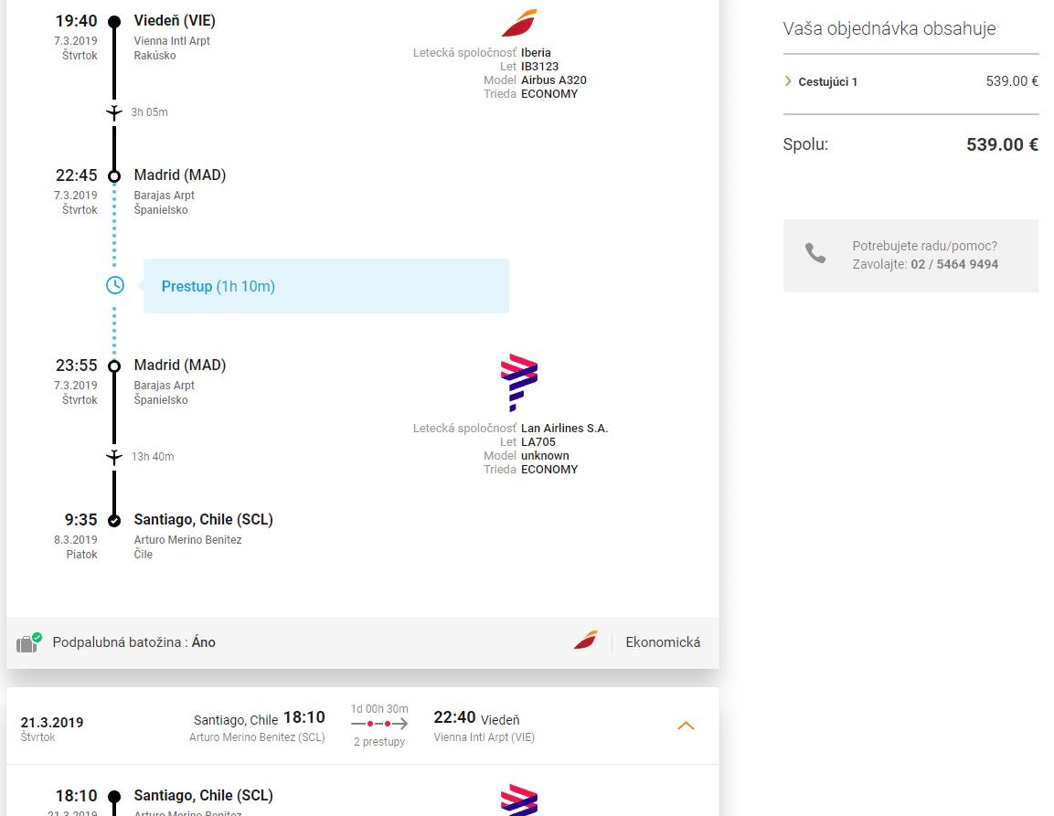 letenky z Viedne do Santiago de Chile