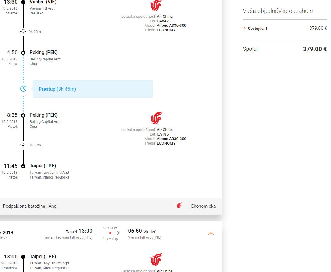 letenky z Viedne do Taiwanu