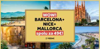 letenky - Barcelona, Nice a Mallorca za 49€