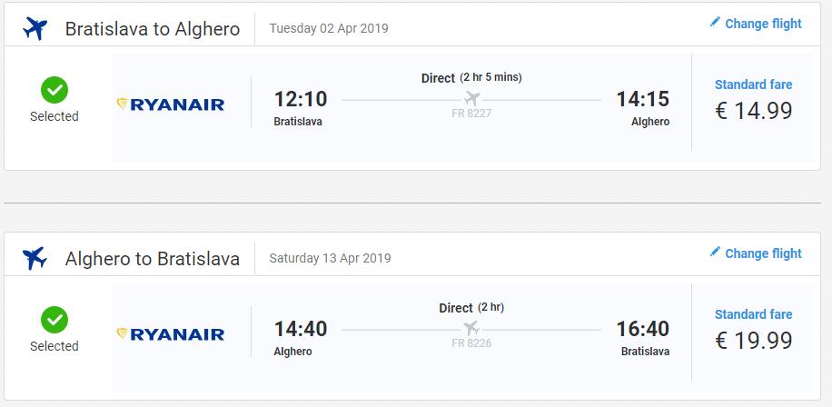 letenky z Bratislavy do Alghera