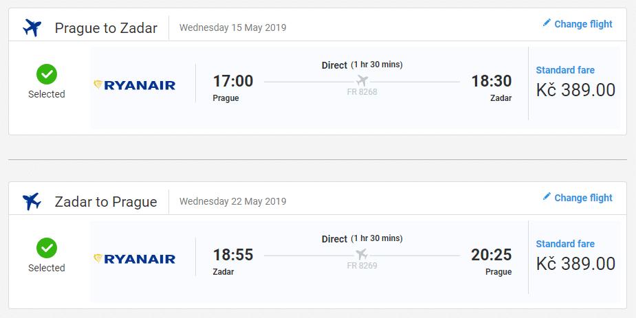 letenky z Prahy do Zadaru