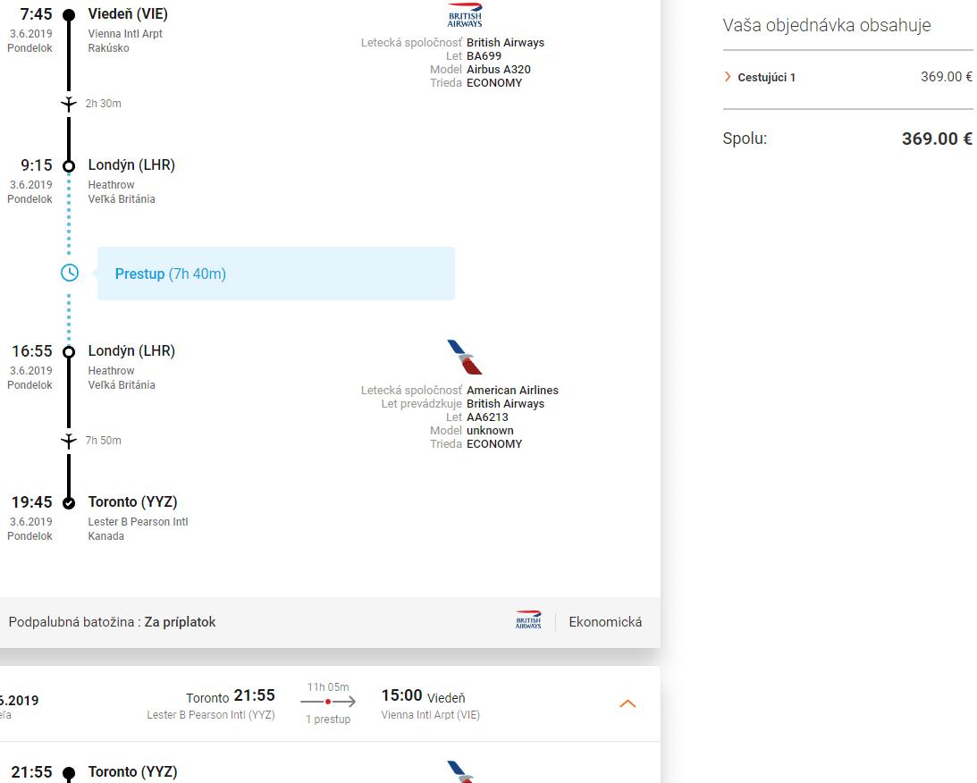letenky z Viedne do Toronta