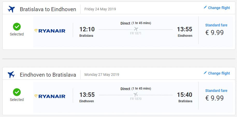 letenky z Bratislavy do Eindhovenu