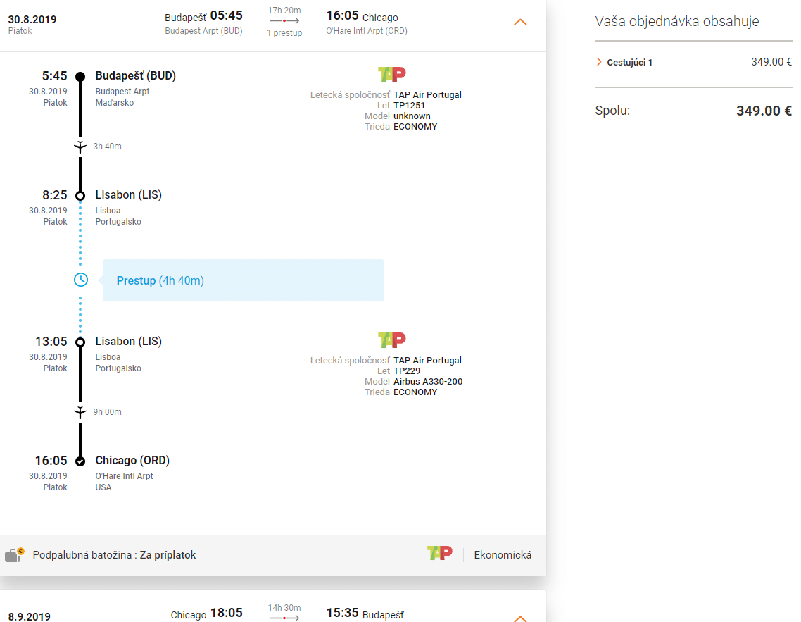 letenky z Budapešti do Chicaga