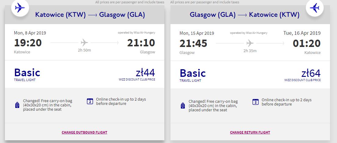 letenky z Katovíc do Glasgowa