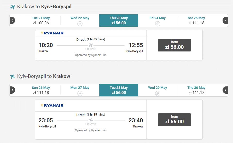 letenky z Krakova do Kyjeva