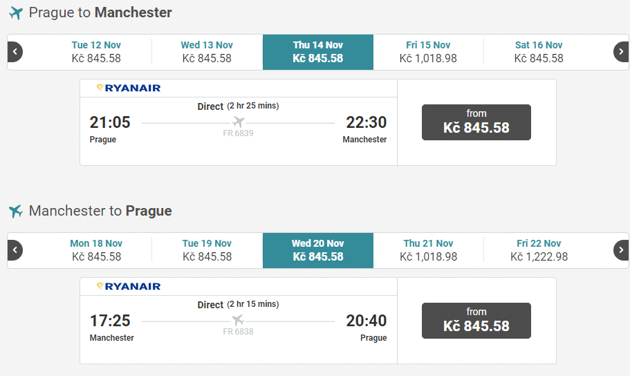 letenky z Prahy do Manchesteru