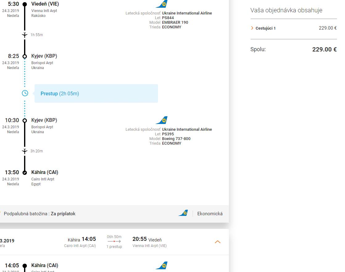 letenky z Viedne do Káhiry