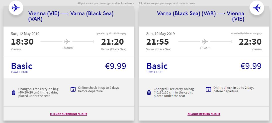 letenky z Viedne do mesta Varna