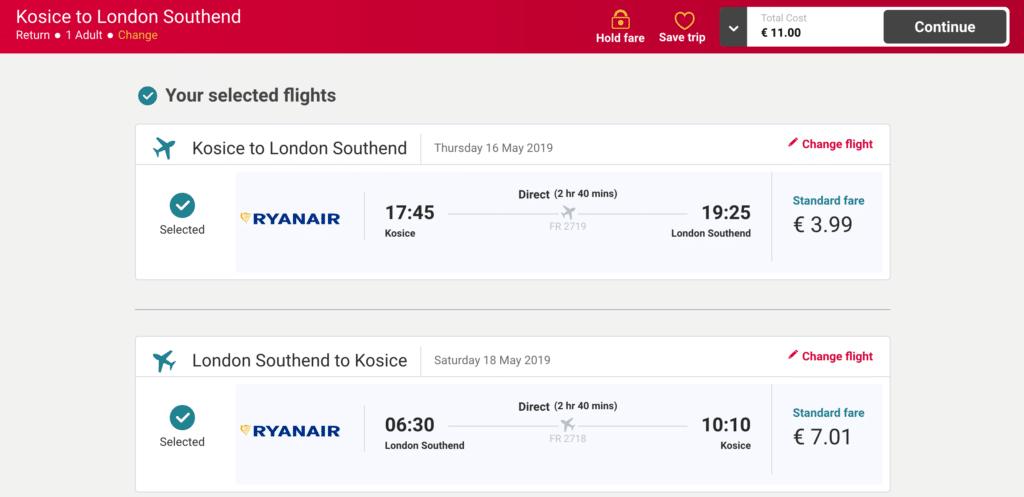 letenky do londyna z kosic za 11 eur