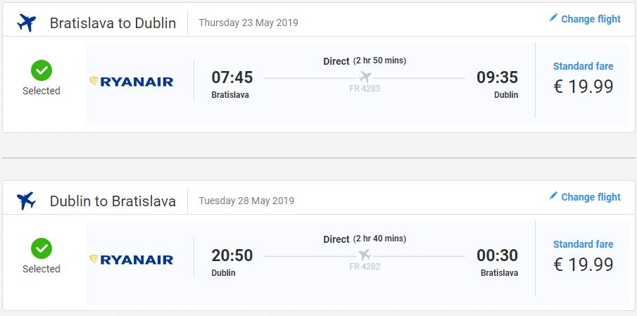 letenky z Bratislavy do Dublinu